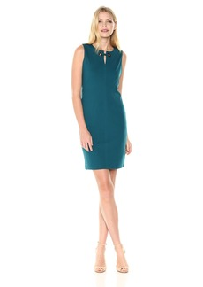 Nine West Women's Solid Ponte Dress with Opening on Neckline