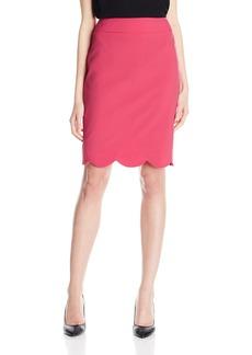 Nine West Women's Solid Skirt W/Scallop Bottom