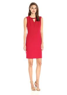 Nine West Women's Solid Stretch Crepe Keyhole Dress (1)