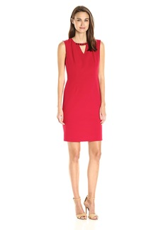 Nine West Women's Solid Stretch Crepe Keyhole Dress (1)