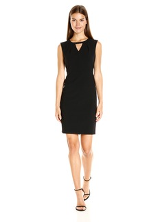 Nine West Women's Solid Stretch Crepe Keyhole Dress (2)