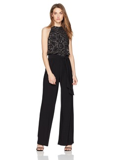 Nine West Women's Sparkle Printed Midi Jumpsuit with Self Sash