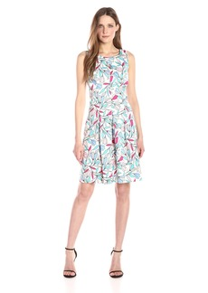 Nine West Women's Stained Glass Floral Fit & Flare Dress with Pleats at Bottom