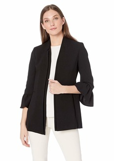 NINE WEST Women's Stand Collar Fly Away Crepe Topper with Ruffle Bell Cuff