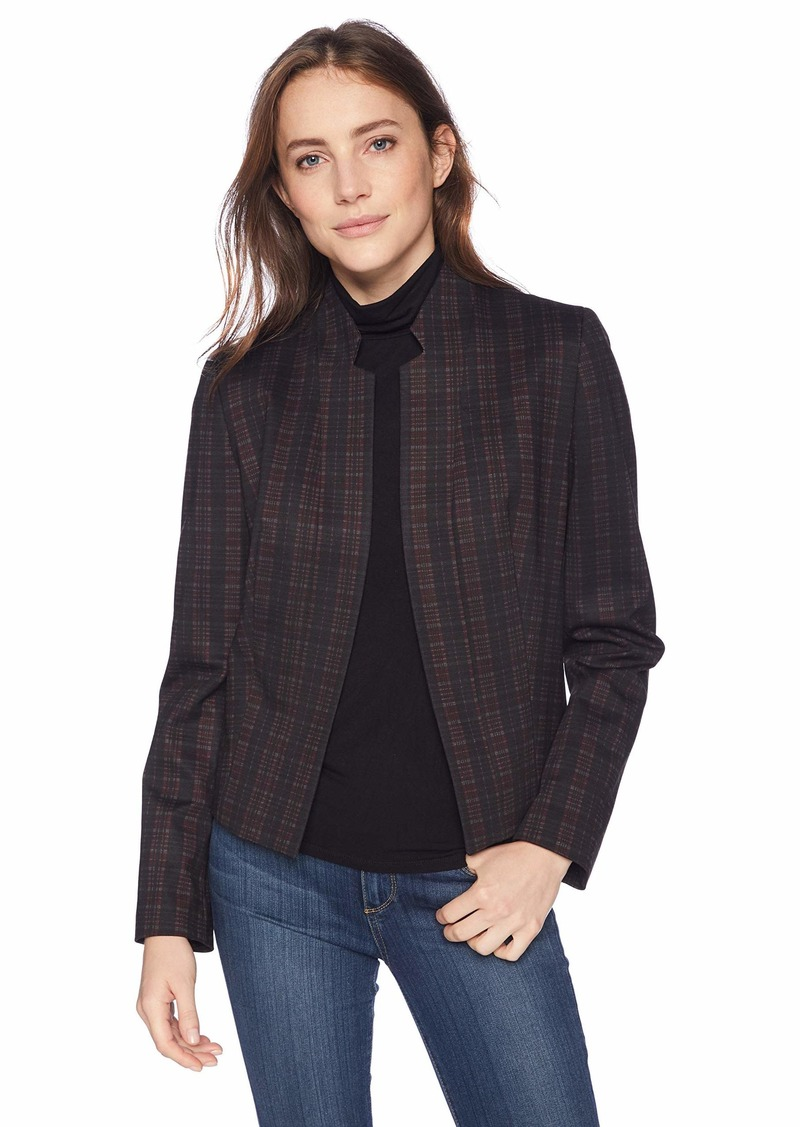 Nine West Women's Stand Collar KISS Front Knit Plaid Jacket