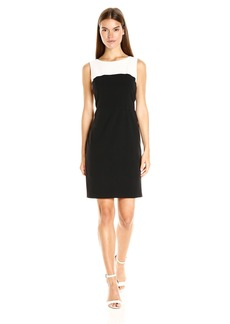 Nine West Women's Stretch Crepe Color Block Sheath Dress ()