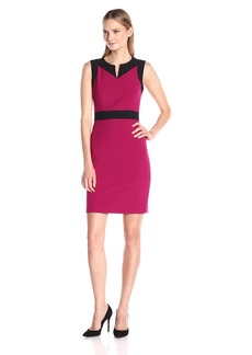 Nine West Women's Stretch Crepe Color Block Sheath Dress (1)