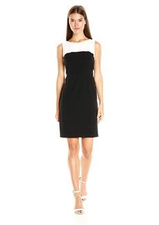 Nine West Women's Stretch Crepe Color Block Sheath Dress (8)