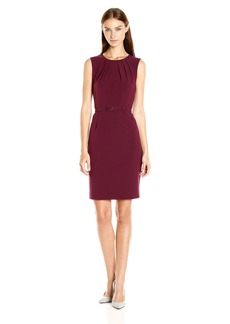 Nine West Women's Stretch Crepe Self Belt Dress