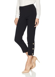 Nine West Women's Stretch Slim Pant with Button Ankle Detail