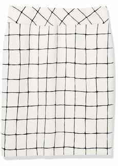 NINE WEST Women's Stretch Windowpane Pull ON Yoke Skirt Lily/Black-AR0 XL