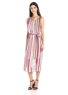 Nine West Women's Stripe Midi Dress with Self Sash