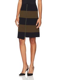 Nine West Women's Striped Bi Stretch Faux Wrap Skirt