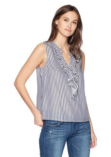 Nine West Women's Striped Blouse with Ruffle Front  XL
