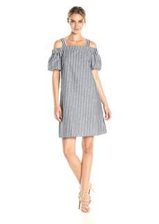 Nine West Women's Striped Cotton Linen Off The Shoulder Dress with Straps