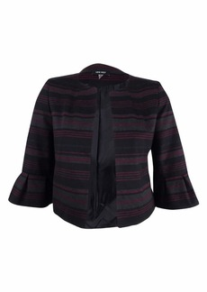 NINE WEST Women's Striped Ponte Jacket with Ruffle Sleeves