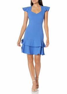 NINE WEST Women's Textured Crepe Tier Skirt Dress Summer SKY-1PI