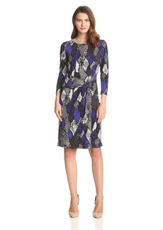 Nine West Women's Three-Quarter-Sleeve Faux Wrap Dress