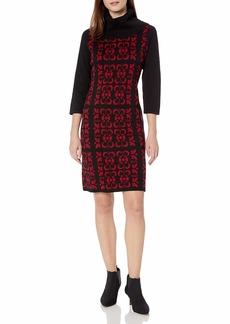 NINE WEST Women's Tile Print Sweater Dress  S