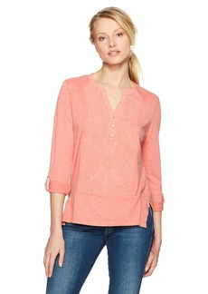 Nine West Women's Tracey Embroidered Henley Top Tea Rose