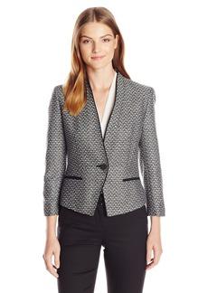 Nine West Women's Tweed 1 Buttton Collarless Jacket