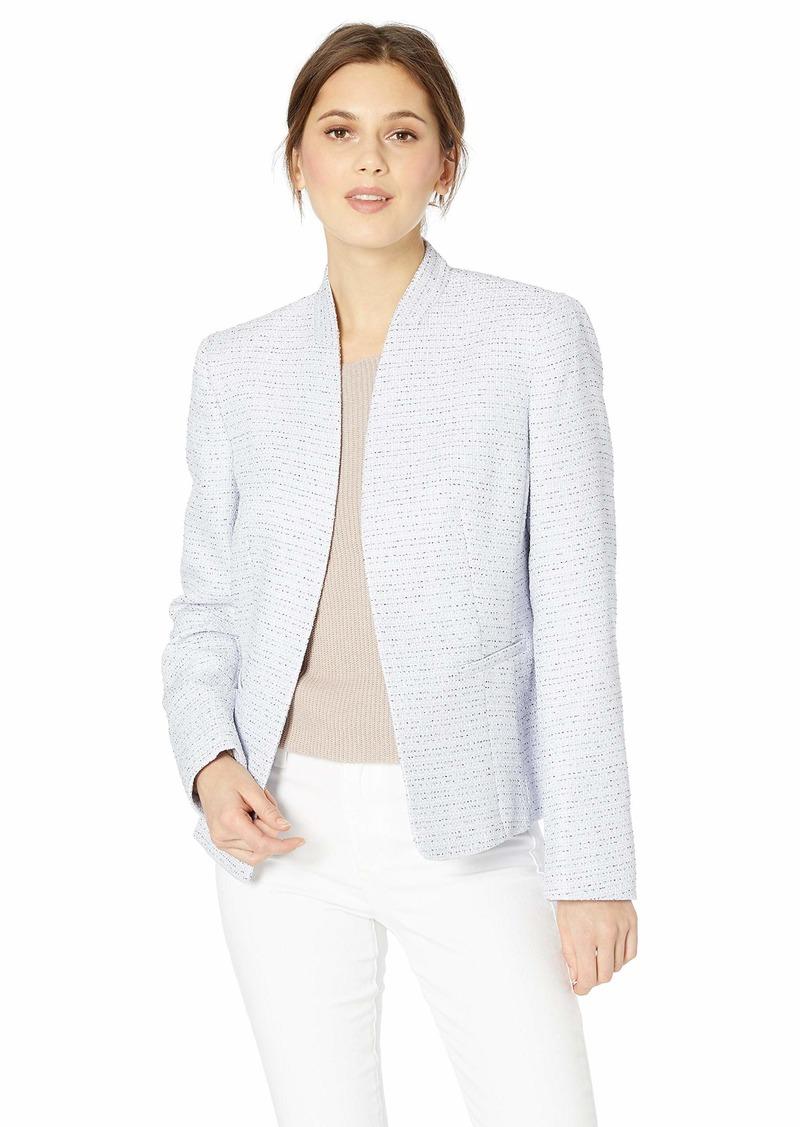 Nine West Women's Plus Size Tweed Kissing Front Jacket ice Violet Multi