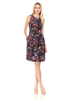 Nine West Women's Twlight Floral Scuba Fit and Flare Dress