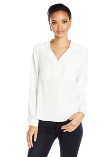 Nine West Women's Long Sleeve Crepe Top with Pockets  L