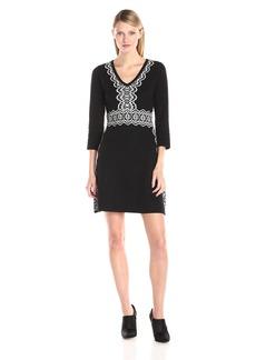 Nine West Women's V-Neck A-Line Sweater Dress Black/Ivory