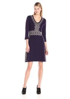 Nine West Women's V-Neck A-Line Sweater Dress Royal/Ash