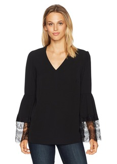 Nine West Women's V Neck Crepe Blouse With Lace Combo Sleeves  XL