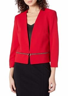 NINE WEST Women's V Neck Crepe Zipper Pocket Cardigan fire red