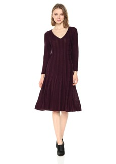 Nine West Women's V-Neck Fit &Flare Cable Dress  S