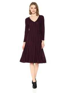 Nine West Women's V-Neck Fit &Flare Cable Dress  XL