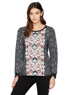 Nine West Women's Valarie Printed Top with Back Tails Black Paisley Print/Embellishment