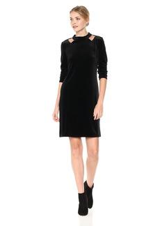 Nine West Women's Velvet 3/4 Sleeve A-line Dress with Sholder Cut Outs