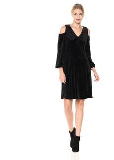 Nine West Women's Velvet Arrow Burnout Cold Shoulder Dress