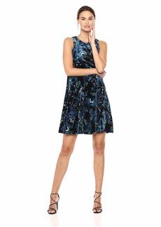 Nine West Women's Velvet Sleeveless Trapeze Dress