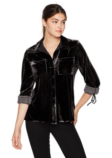 Nine West Women's Vittoria Y-Neck Button Front Shirt with Tie Sleeves