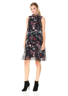 Nine West Women's Wild Flower Shift Dress with Fly Away Back Detail and Collar