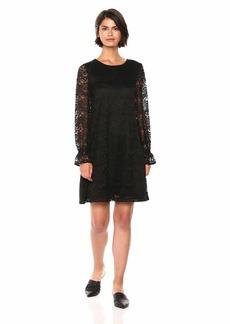 Nine West Women's Zig Zag Crochet Lace Shift Dress with Long Cuffed Sleeves