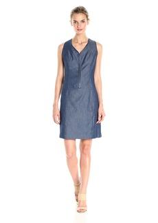 Nine West Women's Zip Front Denim Dress