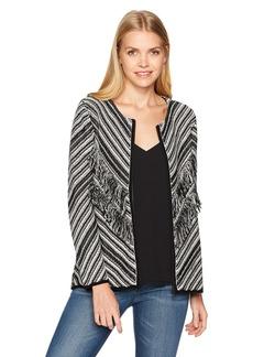 NINE WEST Women's Zip Front Printed Knit Sweater  S