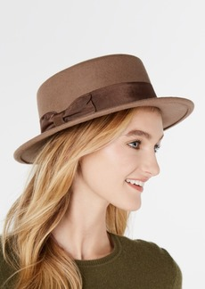 Nine West Wool Felt Small Boater Hat with Bow