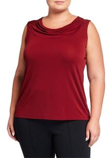 Nine West Plus Size Sleeveless Drape-Neck Jersey Blouse