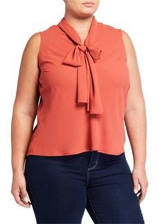 Nine West Plus Size Sleeveless Sleeveless Tie V-neck Woven Top
