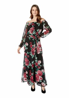 Nine West Printed Chiffon Long Sleeve Maxi w/ Sash Waist