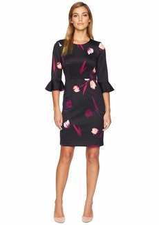 Nine West Printed Scuba 3/4 Ruffle Sleeve Dress