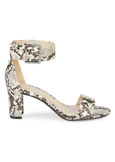 Nine West Snakeskin-Embossed Stack Heel Sandals