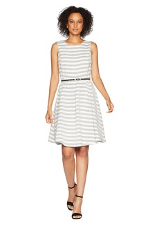 Nine West Streped Fit and Flare Dress with Self Belt